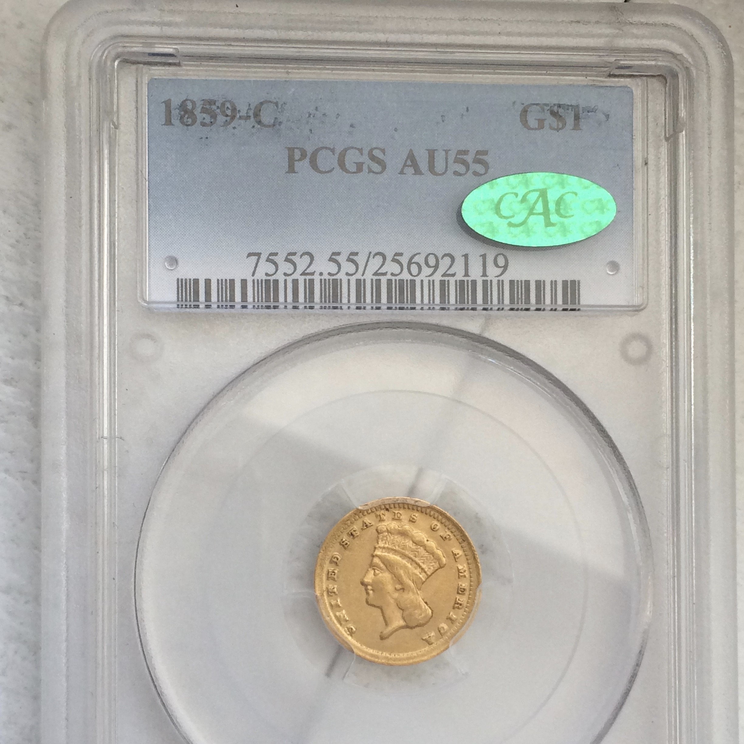 1859 Gold Dollar Coin