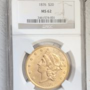 1876 20 Dollar Gold Coin Front